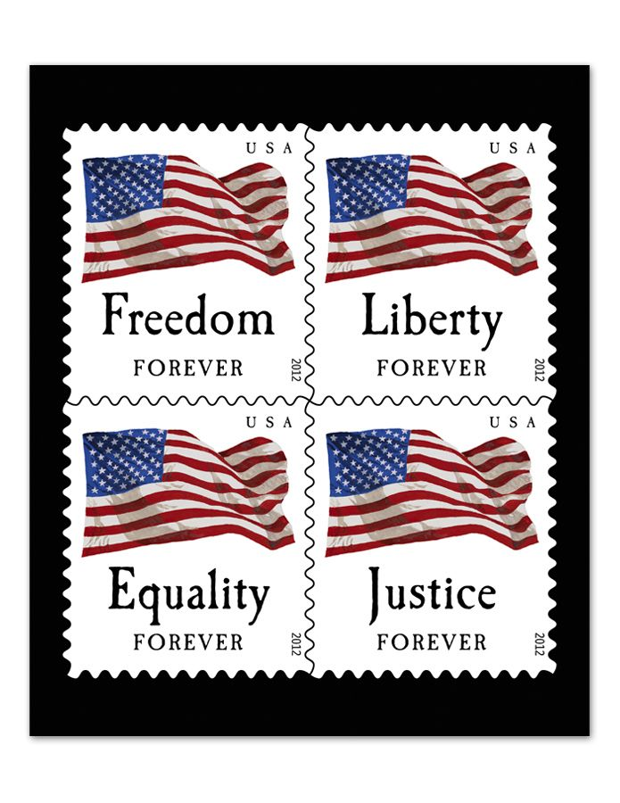 Forever Stamps 100 New First Class Four Flag Adhesive Postage Coil - United-states-forever-stamps