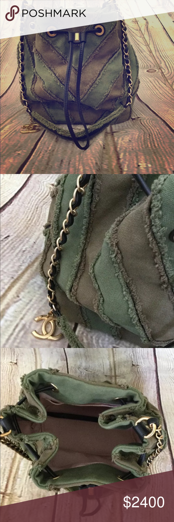 be137bb13109 Chanel green chevron patchwork bucket handbag Chanel 2017 canvas twist  bucket handbag. Gold antique hardware