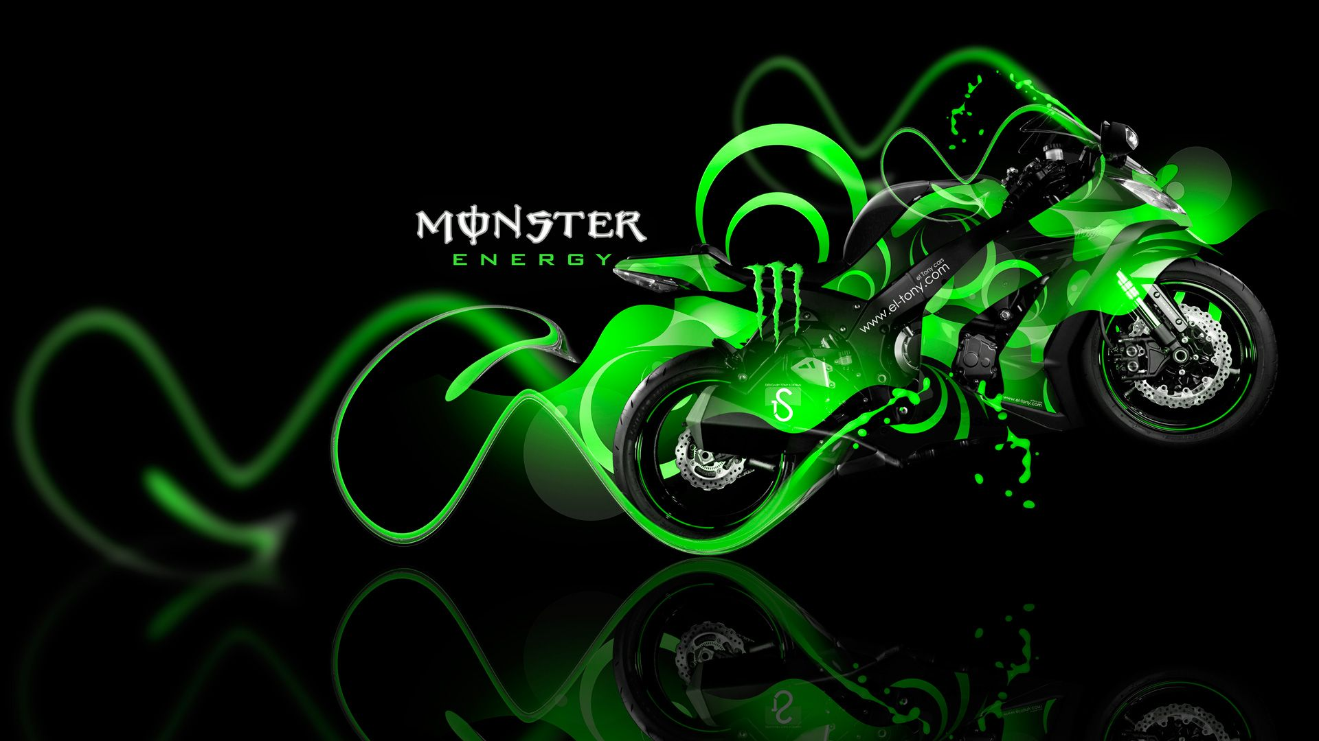 Captivating Monster Energy Kawasaki Ninja Green Plastic Bike 2014 Design By Tony Design