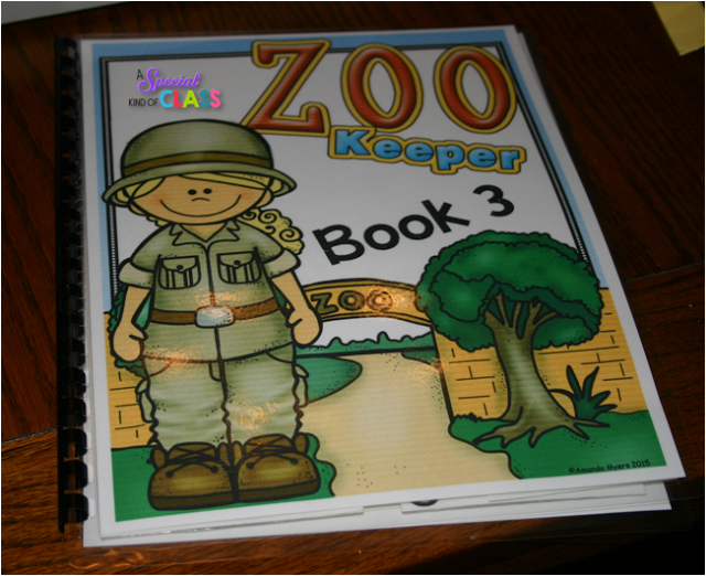 A special kind of class: Zoo Interactive Readers  Adapted easy readers for children of all abilities.  Perfect for children with poor fine motor skills or for children with little or no verbal skills.  Of course, they are perfect for regular children too.