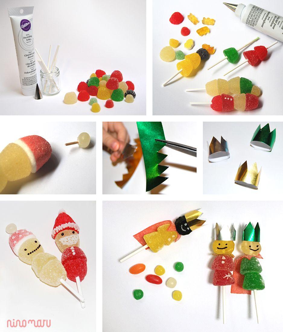 Piruletas con gominolas gominola navidad y piruletas - Manualidades con gominolas ...