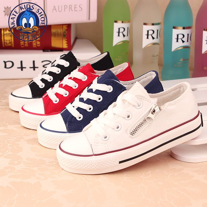 Kids Canvas Casual Running Shoes With Laces And Side Zip For Girls