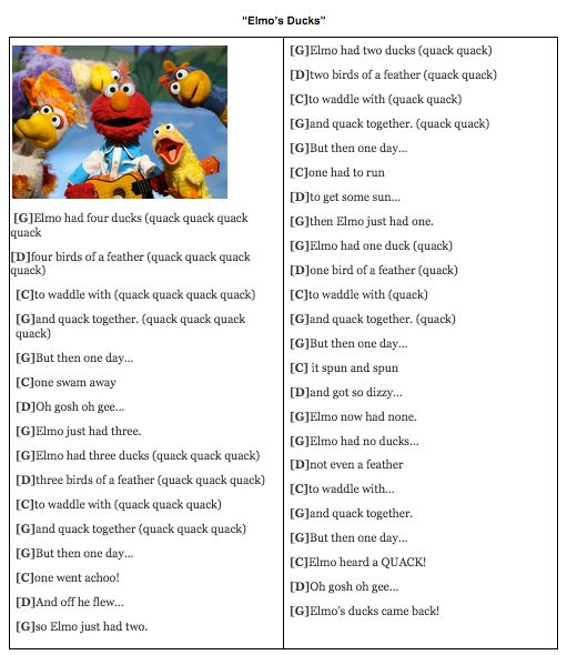 Elmos Ducks Sesame Street Ukulele Chords Ukulele For Kids