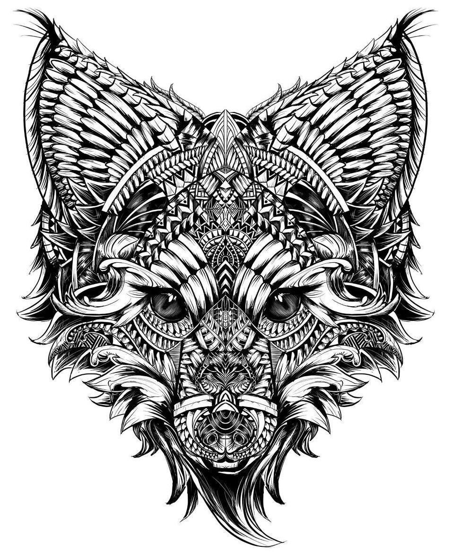 эскиз тату с головой лисы в орнаментах лисёна картины с лисами