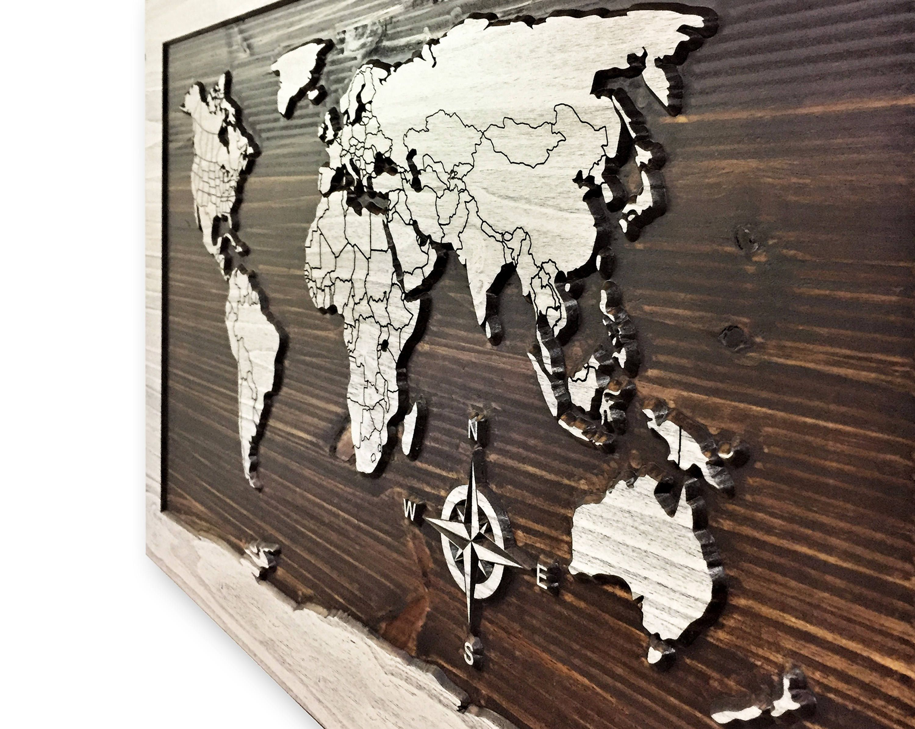 Wood wall art world map decor wooden map map art map of world wood wall art world map decor wooden map map art map of gumiabroncs Choice Image