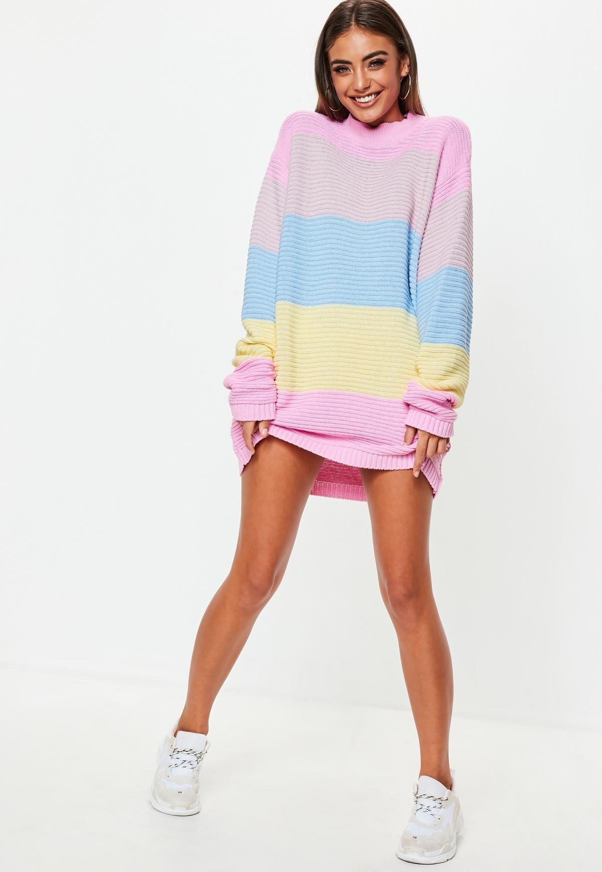Pink Ribbed Colourblock Striped Jumper Dress