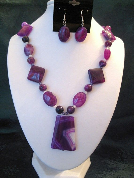 Violet Striped Agate Necklace Set