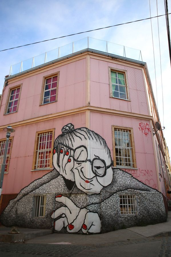 Valparaiso Street Art Ginger Side Of Life Street Art At Its Best In Valparaiso Chile Just Love This Grandma Series