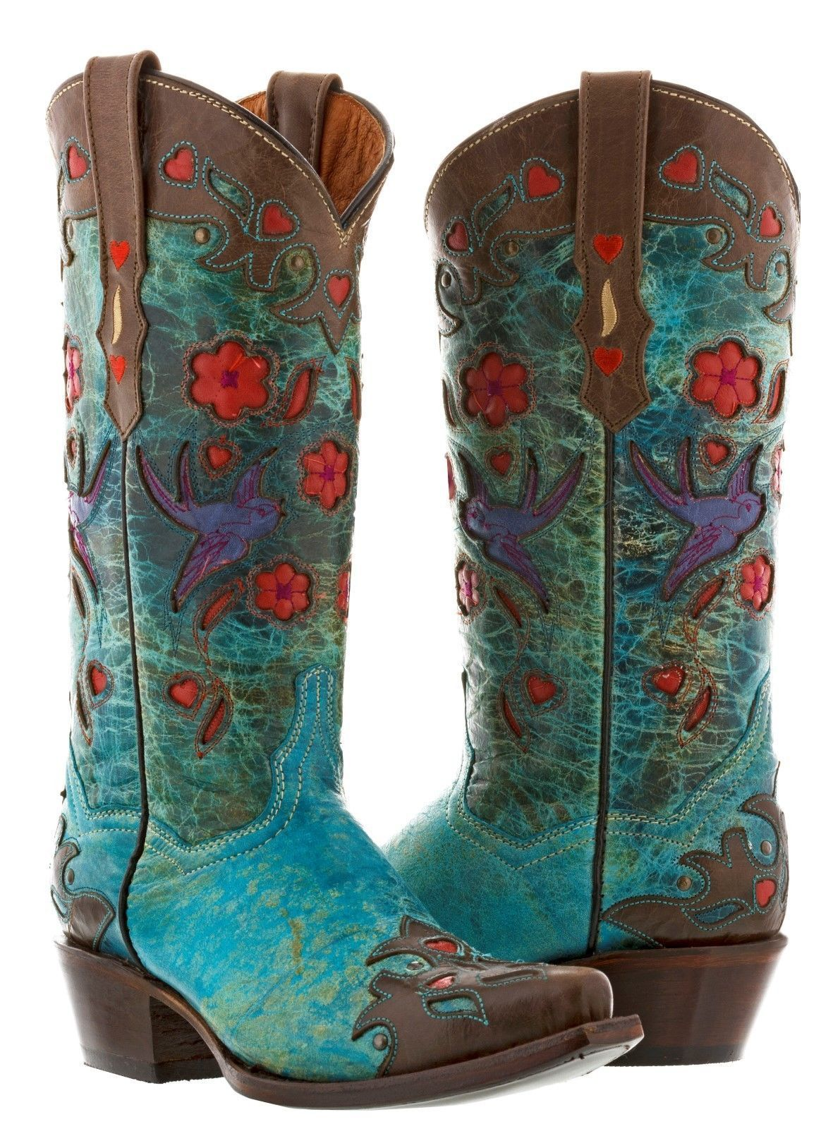 0c0c6232d47 Womens Brown Turquoise Cowgirl Leather Boots Red Flowers Rodeo Western Snip  Toe