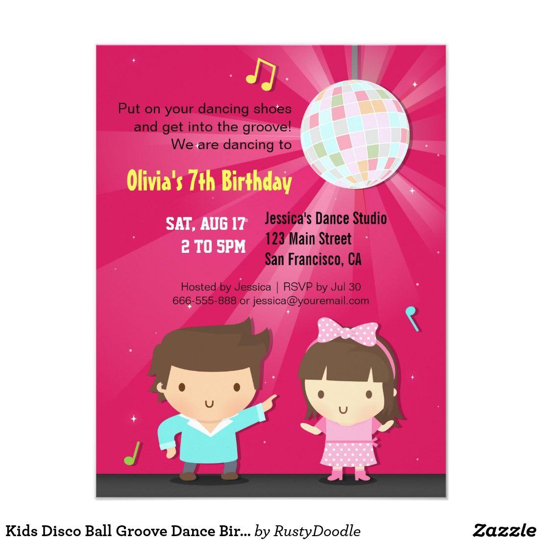 Kids Disco Ball Groove Dance Birthday Party Card | Kid\'s Birthdays ...