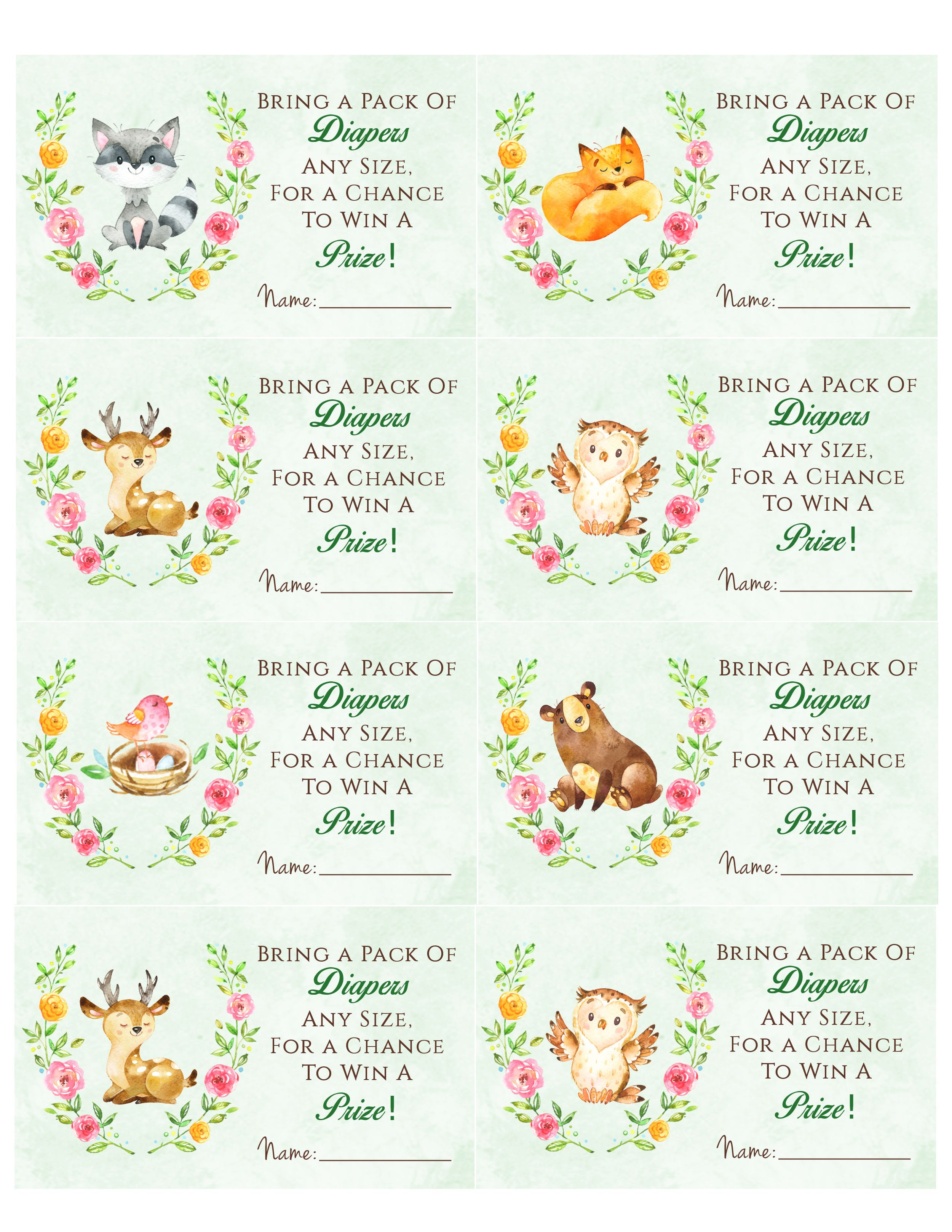Woodland Animal Baby Shower Diaper Raffle Free Printable