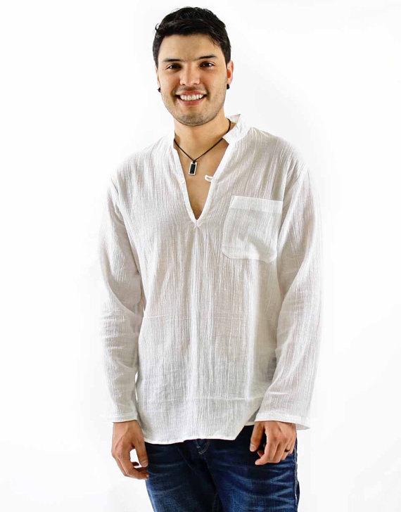 Mens Summer Linen Hippie Shirts Long Sleeve V Neck Casual T-Shirt Button Tops 34