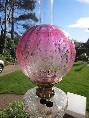 Original antique cranberry glass victorian duplex oil lamp shade original antique cranberry glass victorian duplex oil lamp mozeypictures Image collections