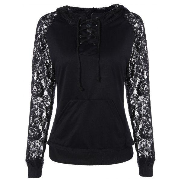 Lace Insert Pocket Design Hoodie, BLACK, XL in Sweatshirts & Hoodies | DressLily.com