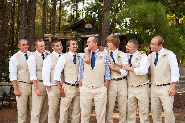 Groomsmen In Khaki Pants And Khaki Vests