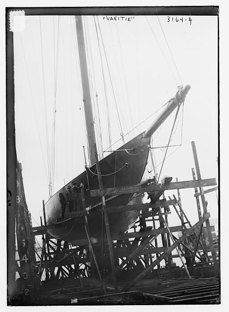 VANITIE. Alexander Smith Cochran's yacht Vanitie which was selected to defend America's Cup against Sir Thomas Lipton's yacht, Resolute in 1914.