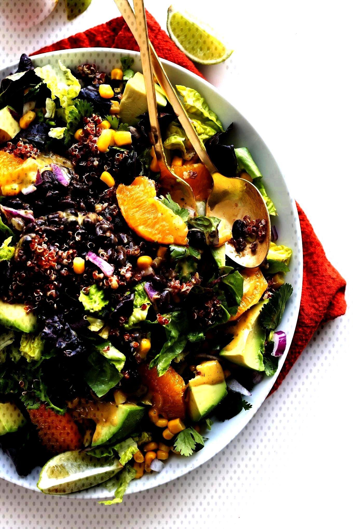 Vegan Salad with Corn, Black Beans, Quinoa, Avocado, and a Creamy Cilantro Orange Chili Dressing!Mi