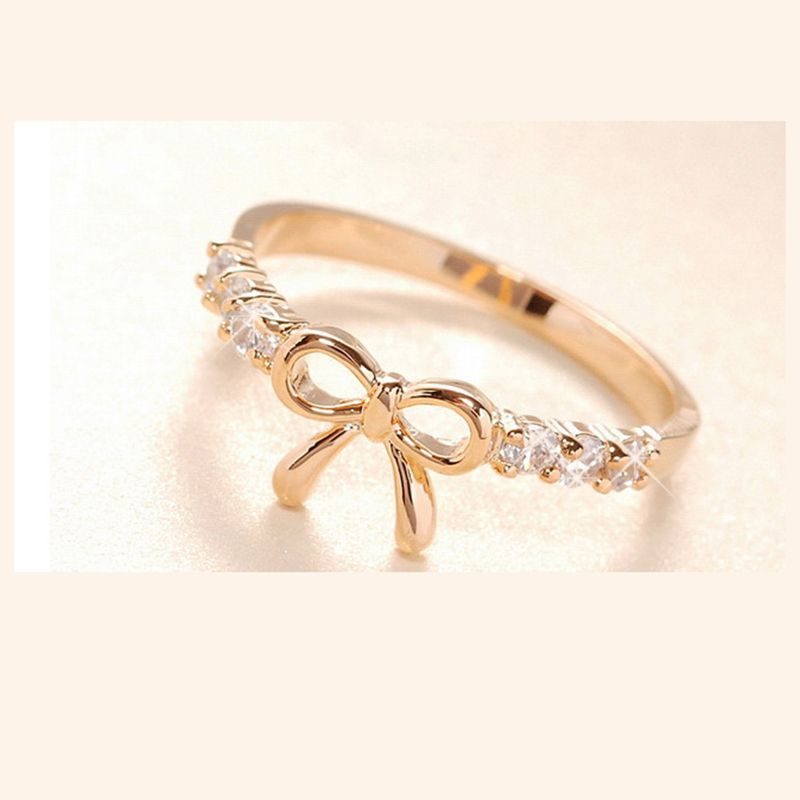 Korean Jewelry Simple Imitation Bow Ring New Bowknot Ring Girl ...