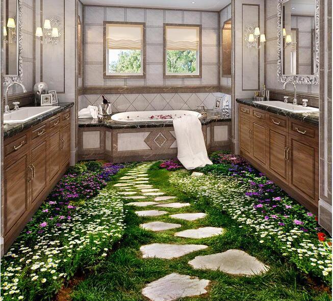3 D Pvc Flooring Custom Wall Paper 3d Bathroom Bedroom Creative Flowers Path Mural Wallpaperfor Walls