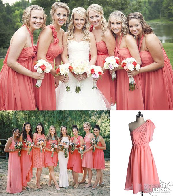 Key Color for Bridesmaid Dresses 2014–Coral | Coral weddings ...
