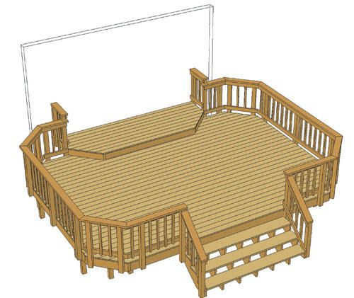 20 X 14 Deck W 12 X 4 Landing And Iron Spindles At Menards Decks Backyard Pool Decks Deck