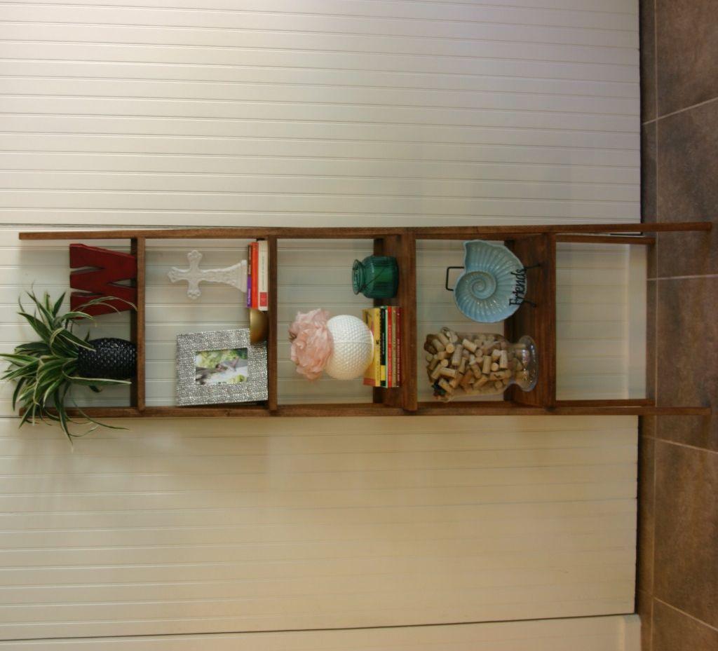 DIY Ladder Bookshelf Chelsea built for her sunroom