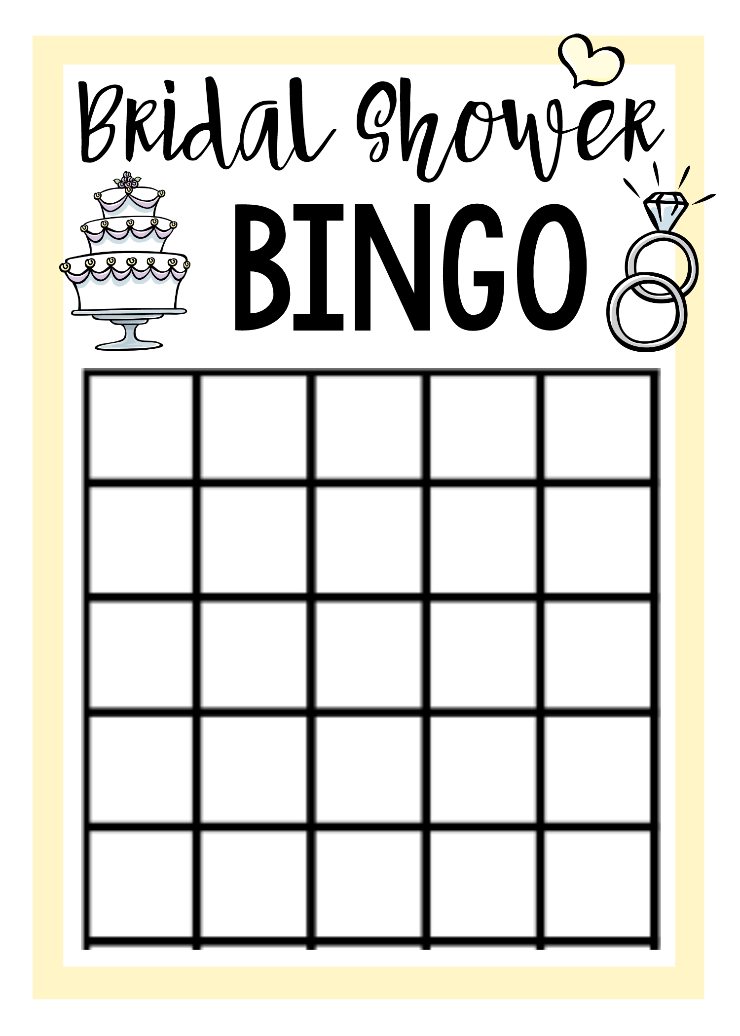 graphic relating to Free Printable Bridal Shower Bingo called Cost-free Printable Bridal Shower Video games Wedding day Enjoyable bridal