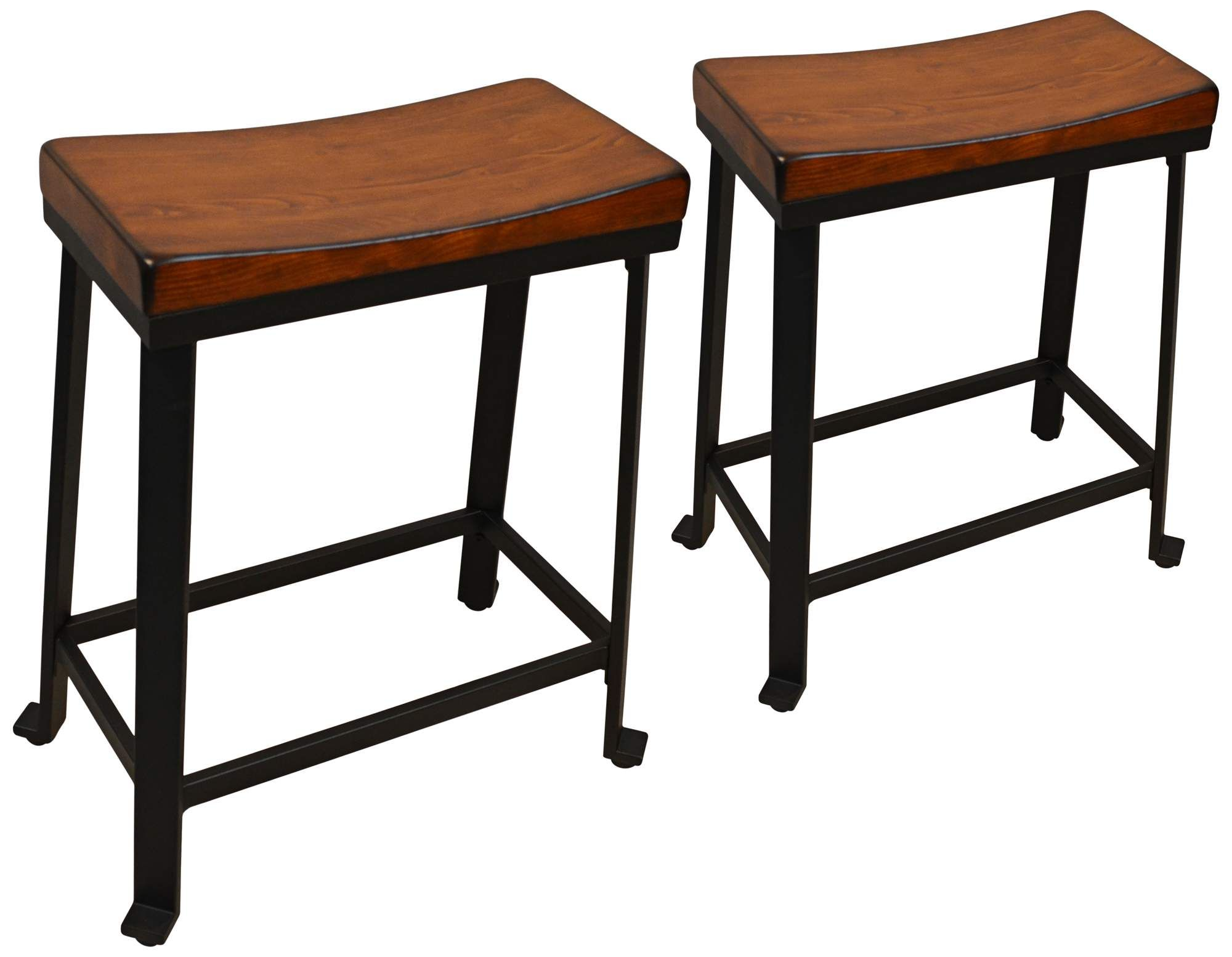 Thea 24 Inch Chestnut Wood Saddle Seat Counter Stools Set Of 2