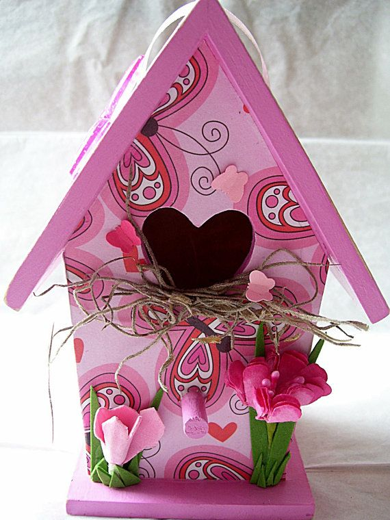Butterfly Hearts Valentine Mini Birdhouse by tatteredpearls