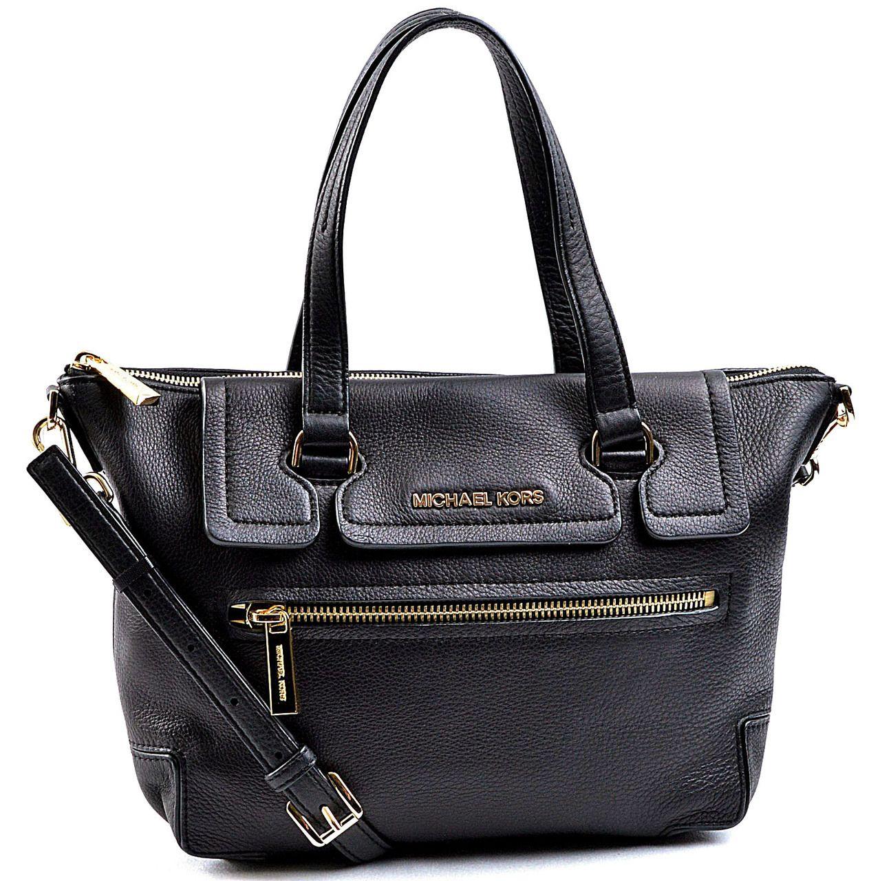 Designer Handbags Rescue Michael Kors Mackenzie Medium Satchel In Black