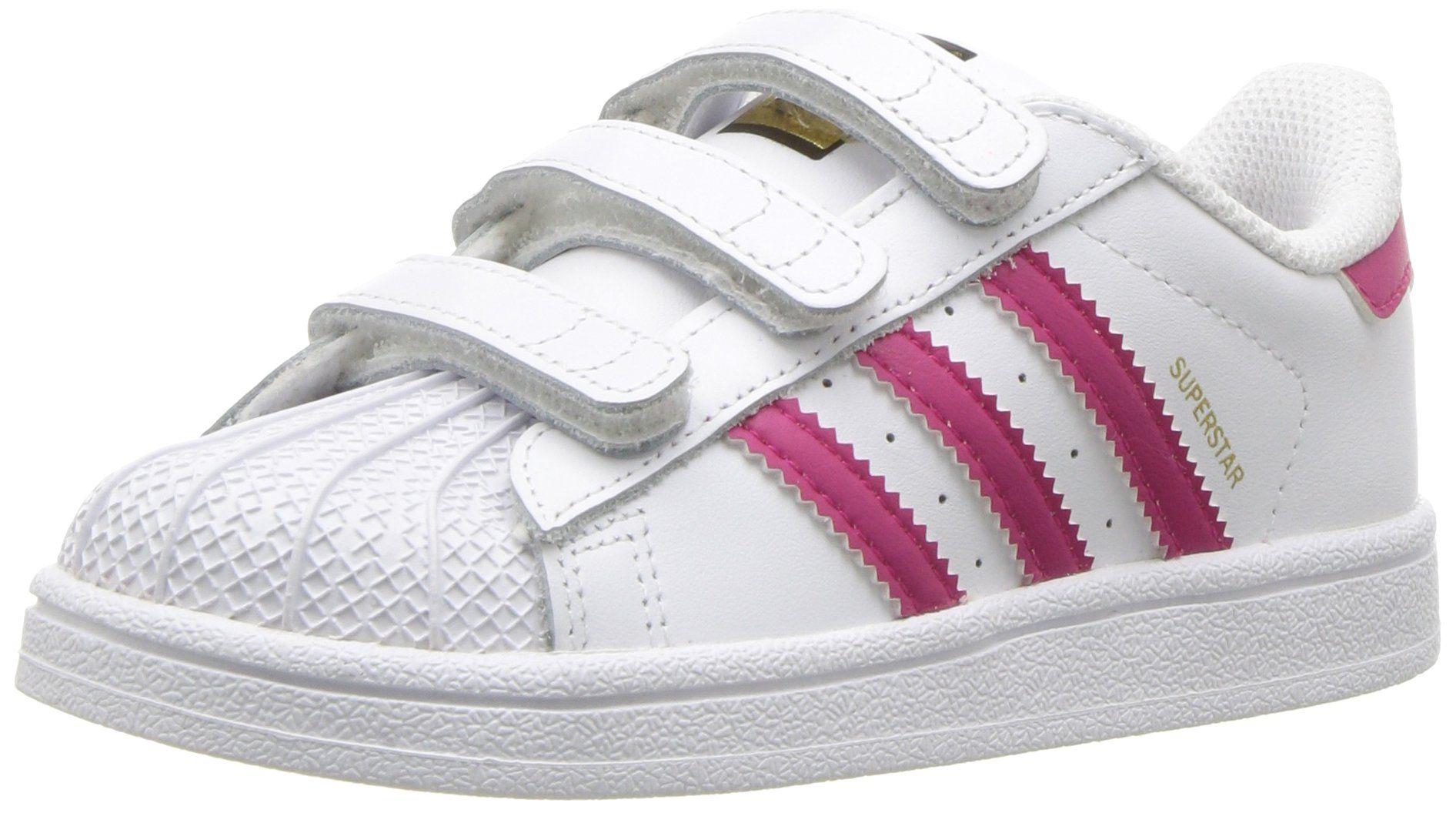 outlet store 671e3 0af08 adidas Originals Baby Superstar CF I Sneaker, WhiteBold PinkWhite, 4 M US  Toddler