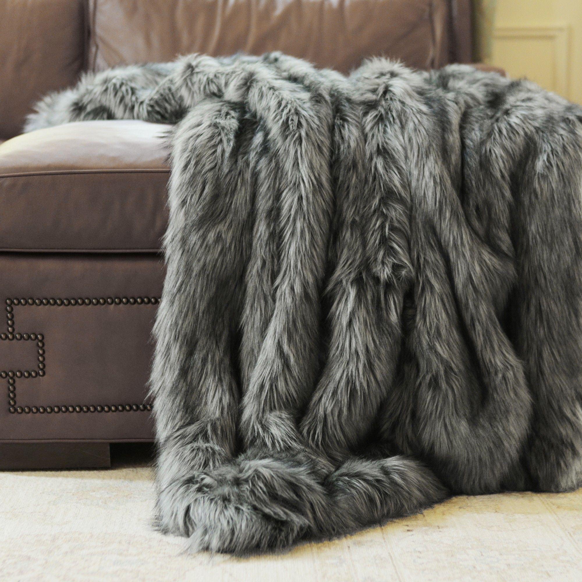 Silver Fox Faux Fur Throw by Wild Mannered