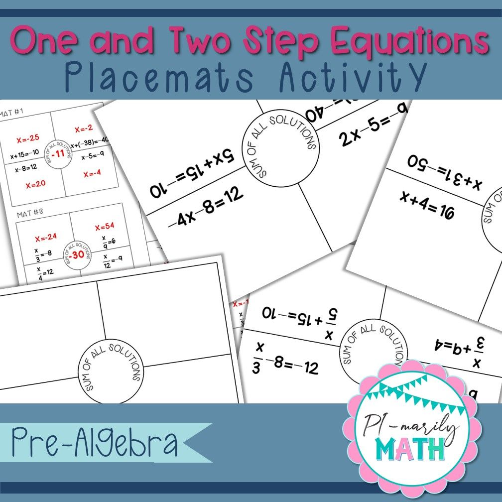 One and TwoStep Equations Placemats Activity Two step