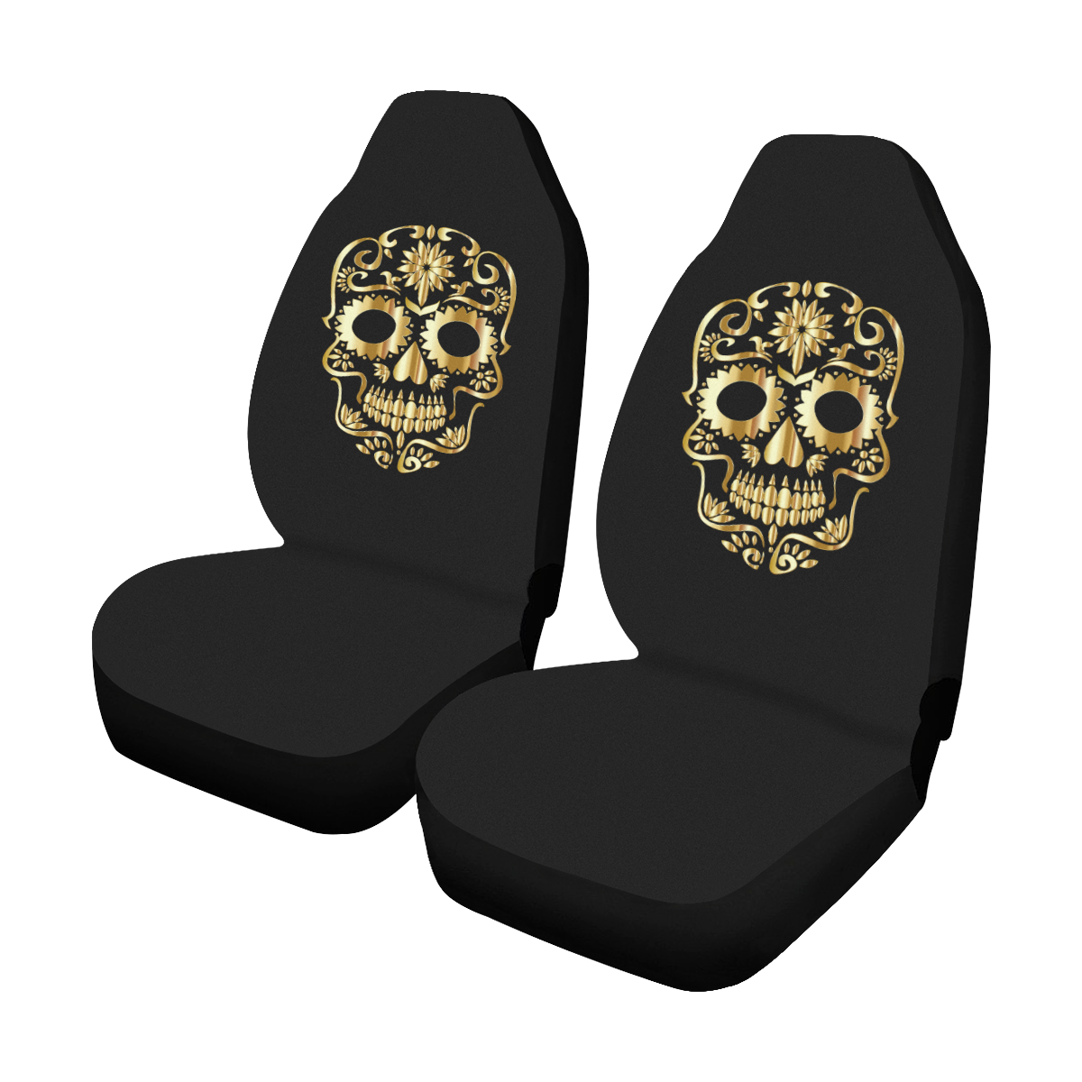 Golden Sugar Skull Black Car Seat Covers Set Of 2