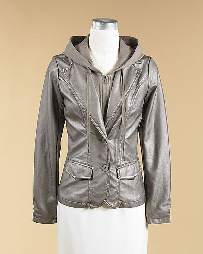 Faux Leather Blazer With Removable Hoodie