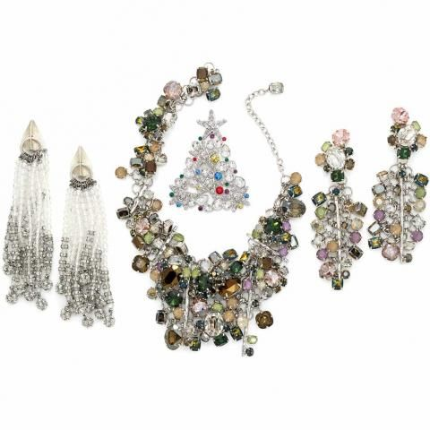 Multicolored Glass and White Metal Necklace and Pendant Earrings, Daniel Swarovski | Doyle Auction House