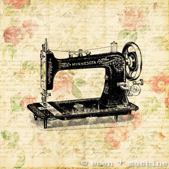 Old Fashioned Sewing Machine Art Print Real by esenplusmachine ...