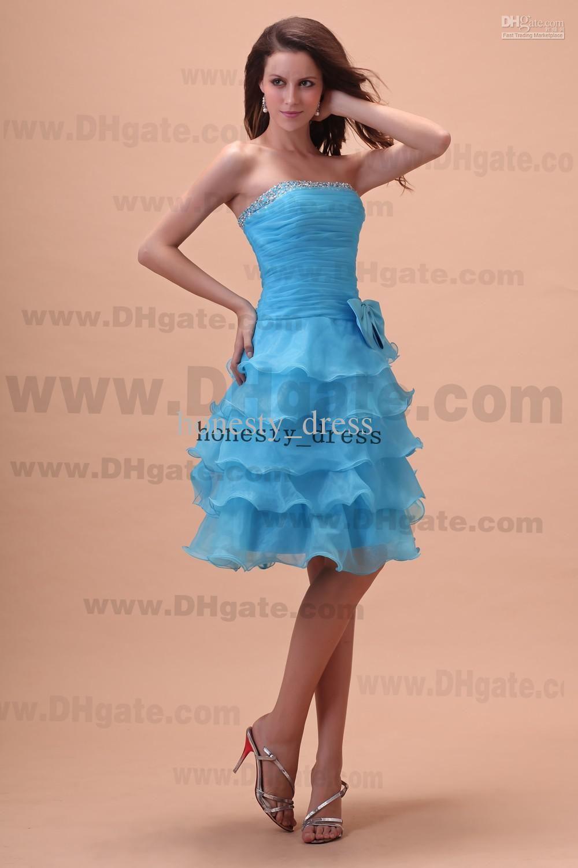 Sassy Light Blue A Line Organza Junior Bridesmaid Dress Strapless ...