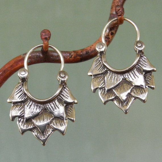 Lotus Earrings  smaller  sterling silver  hoop by BobsWhiskers, $40.00