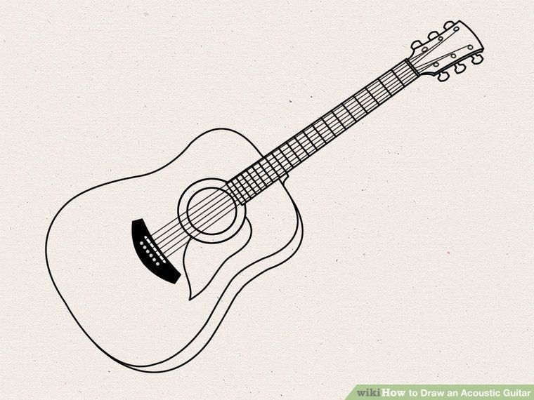 Draw An Acoustic Guitar Tattos Guitar Drawing Acoustic Guitar