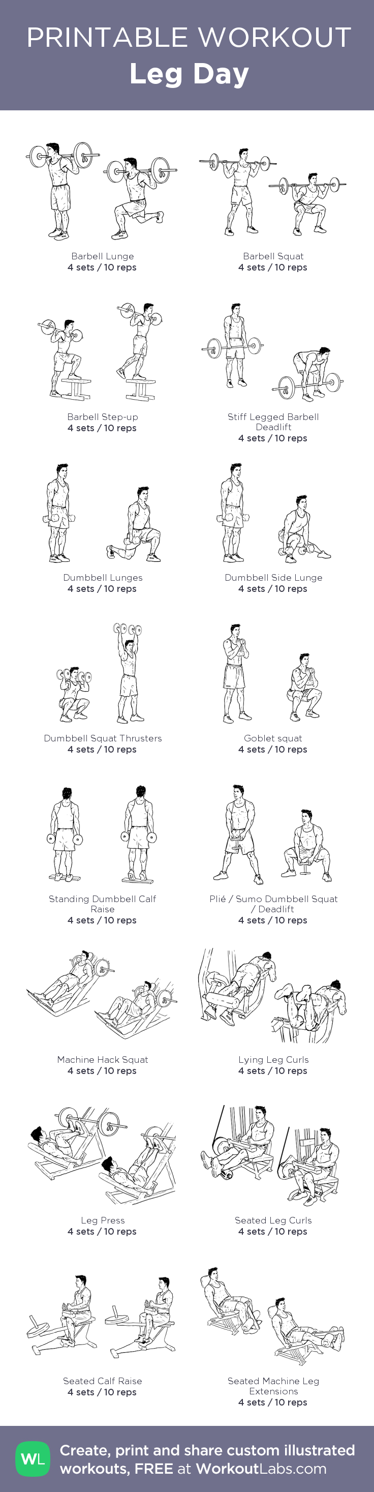 Leg Day My Custom Printable Workout By Workoutlabs Legs Killer Circuit Totally Dead Superset Customworkout