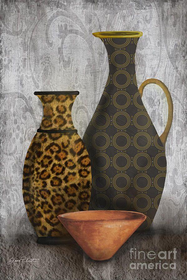 Animal Print Vase Still Life B Painting Decoupage 2 Flowers