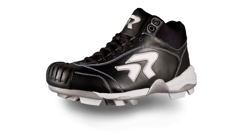 4b692bc18  113 Fastpitch Softball - Ringor Diamond Dynasty Mid Cleat with  Pro-Tec-Toes- Black White