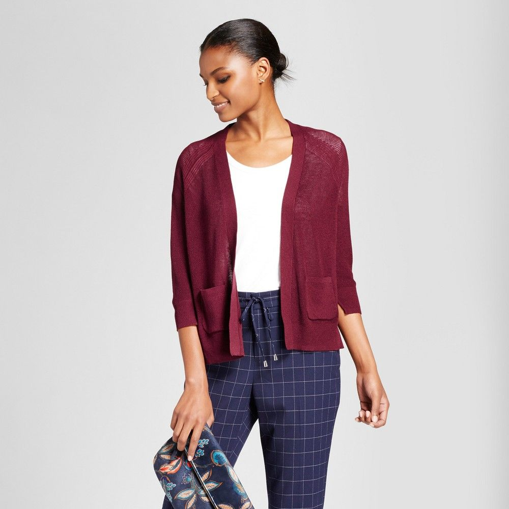 Women's Open Layering Cardigan - A New Day Maroon (Red) Xxl