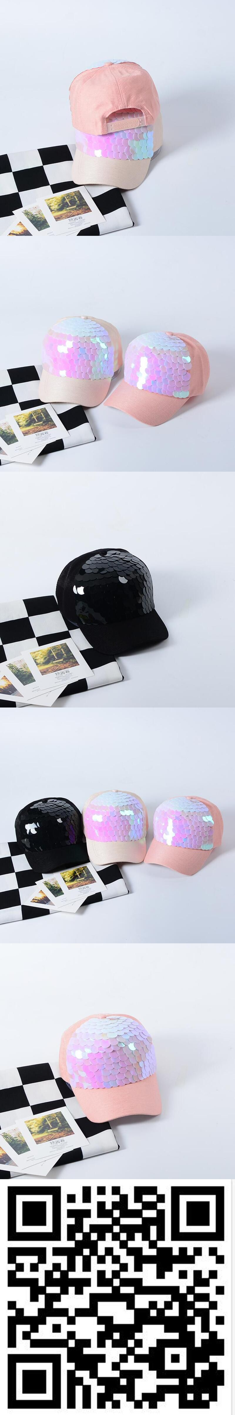 8c33b83ae01 2017 new Women Baseball Cap Bling Fish Scales Sequins Hip Hop Cap Vintage  Snap Back Design