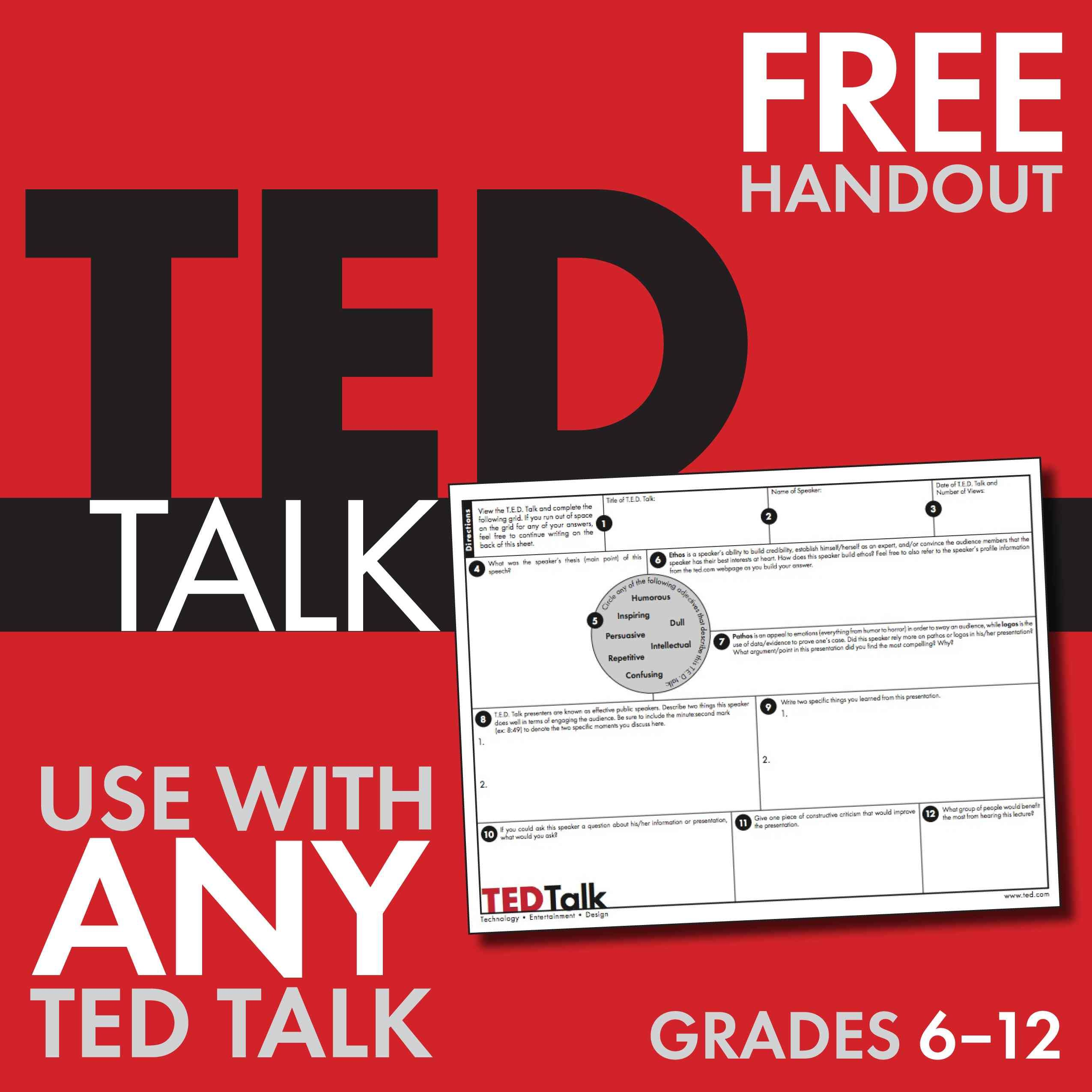 Ted Talks Free Worksheet To Use With Any Ted Talk Public