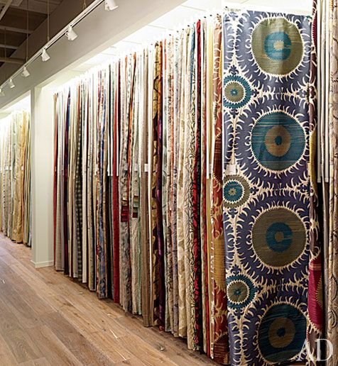 Colorful fabrics on display in donghia s new manhattan for Designer fabric store