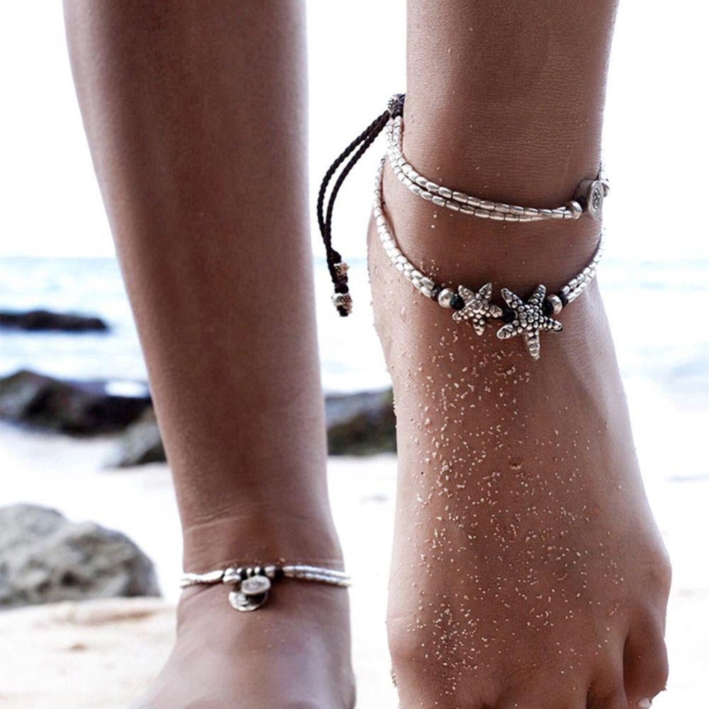 Women boho silver starfish ankle chain anklet bracelet foot jewelry