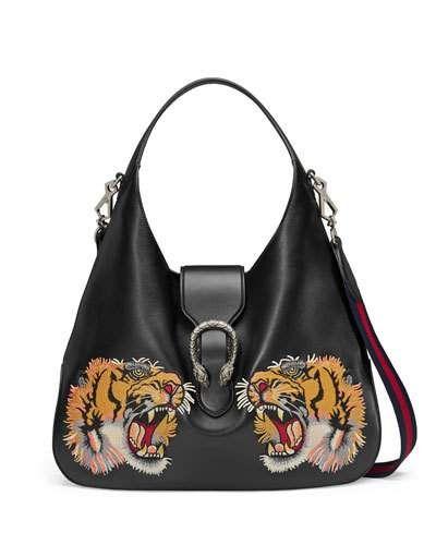 2742c2e84b50ae L62RA Gucci Tiger-Embroidered Leather Shoulder Bag, Black Pattern ...