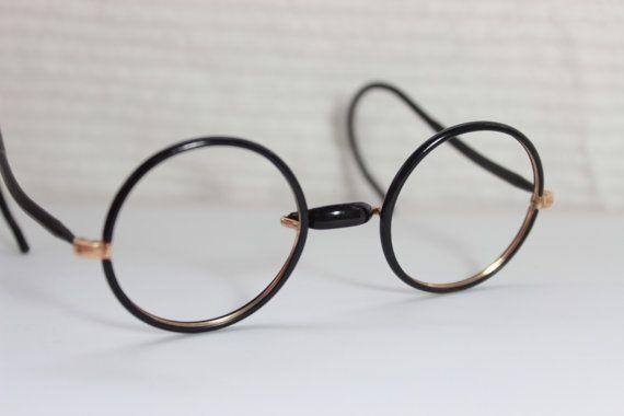 18e8c5599c3 30s Glasses 1920 s Round Eyeglasses Black Yellow Gold Wire Rim Cable ...